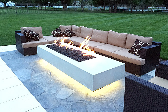 Dining table with fire pit modern concrete omaha patios for Outdoor furniture omaha